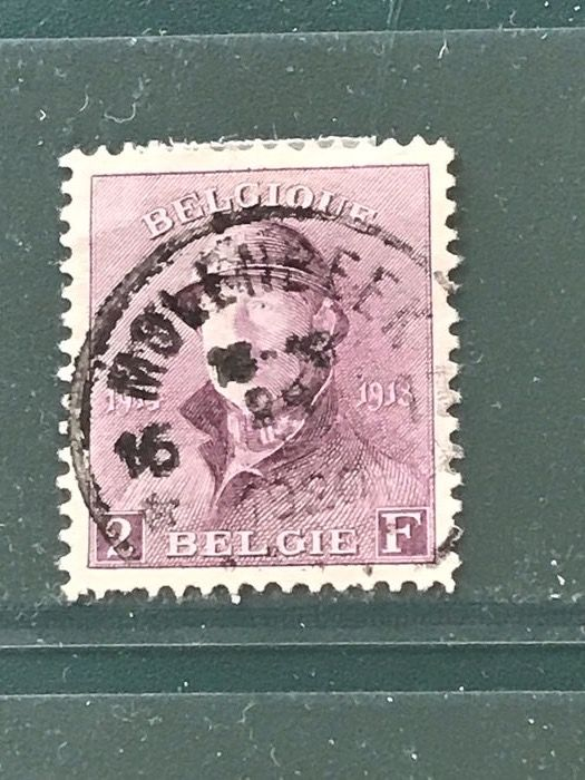 Belgium 1919 - 2fr King with steel helmet with depot-relais cancellation - OBP / COB 176