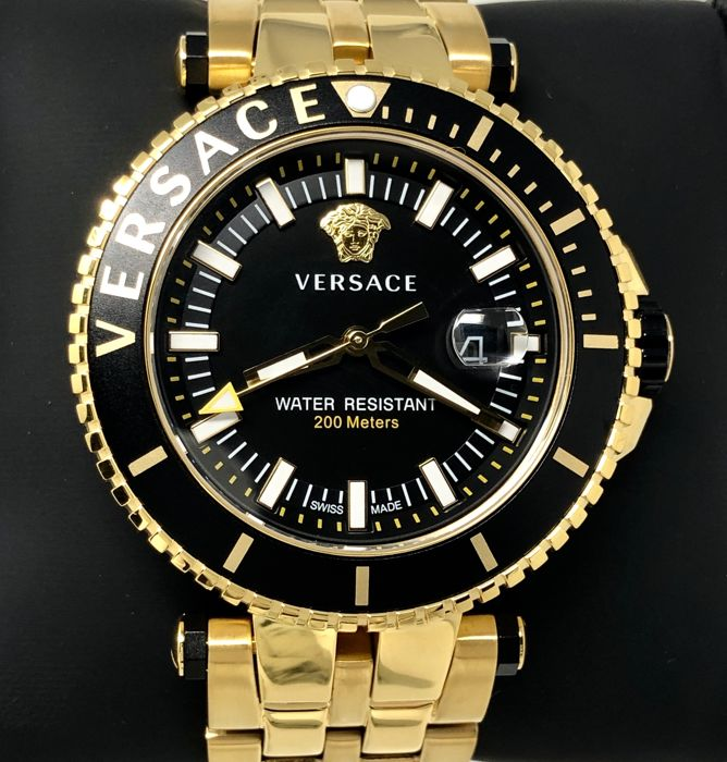 Versace - V-Race Diver IP Gold Black Dial Swiss Made - VEAK00618 - Men - Brand New