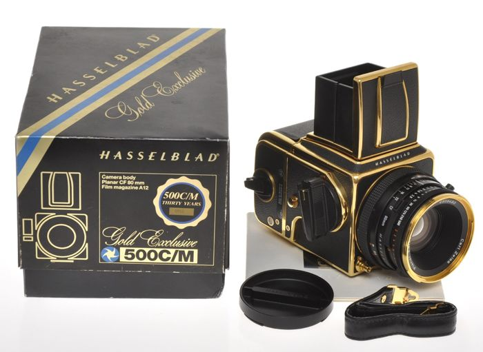 Hasselblad 500 C/M Exclusive Gold with 80/2.8 Planar CF Gold and A12 Gold, near mint