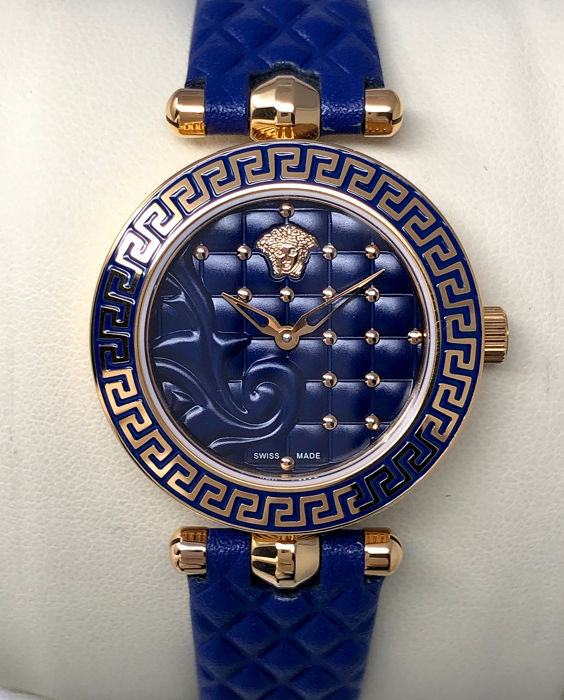 Versace - Micro Vanitas Blue IP Rose Gold leather Swiss made  - VQM090016 - Women - NEW