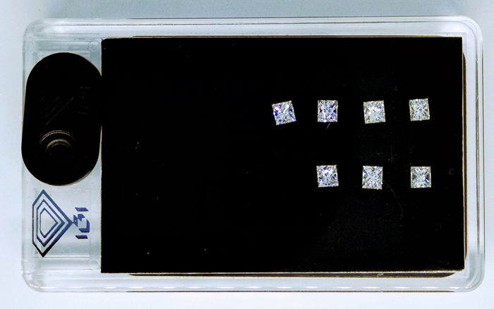 7 pcs Diamanten - 1.12 ct - Prinses - F, G - No reserve price, VS1, VVS2
