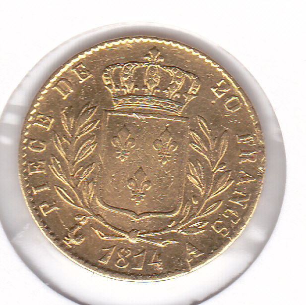 20 Francs 1814 A Louis XVIII  - Or