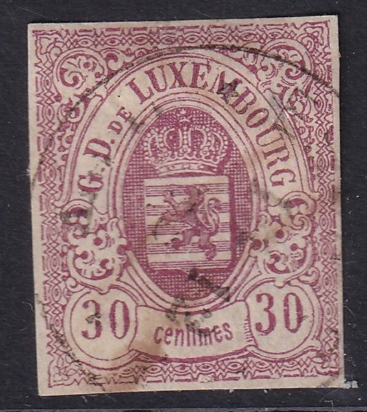 Luxemburg 1859 - Coat of arms 30 cents lilac imperforate - Unificato 9