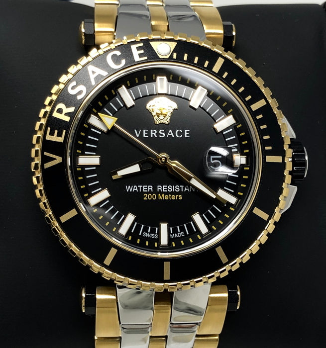 """Versace - V-Race Diver Two Tone Gold and Stainless Steel Swiss Made """"NO RESERVE PRICE"""" - VEAK00518 - Heren - Brand New"""