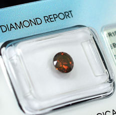 Diamond - 0.90 ct - 明亮型 - Fancy Intense Reddish Orange - SI2 微内含二级