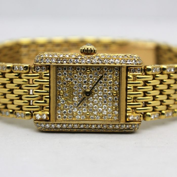 Cartier - Tank Quartz - Ouro 18K e Diamantes - Ref. 660.120429 - Women - 1970-1979