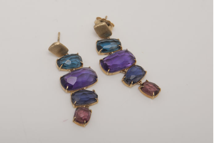 Marco Bicego - 18 kt Gelbgold - Ohrringe Amethyst - Iolith, Topas