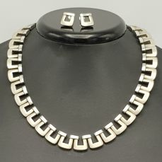 Omega Design  - 925 Silver - Earrings, Necklace