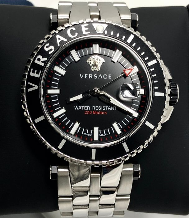 "Versace - V-Race Diver Black Dial Stainless Steel Swiss Made ""NO RESERVE PRICE"" - VEAK00418 - Heren - Brand New"