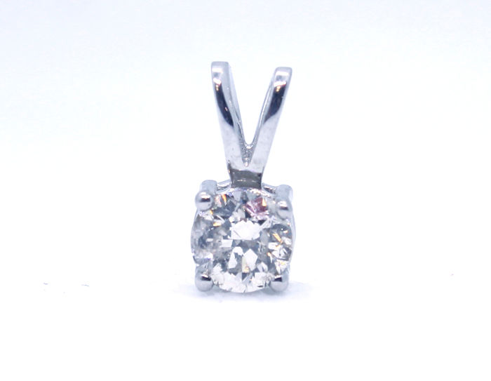 Round Natural Diamond - 14 karaat Witgoud - Hanger - 0.53 ct Diamant