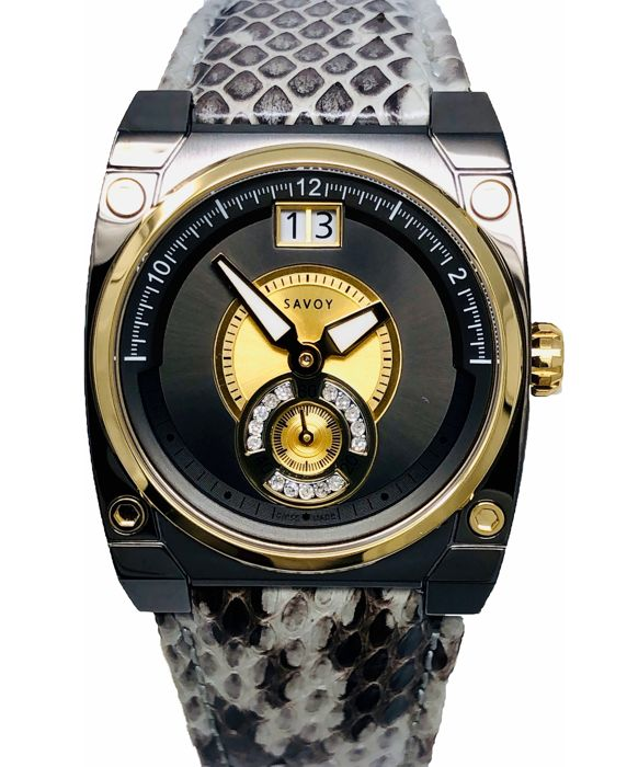 Savoy - 15 Diamonds Icon Petite Gold Snake skin pattern Swiss Made  - C7303.02D - Donna - 2019