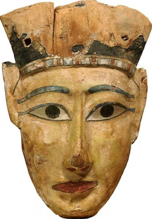 Oud-Egyptisch Hout Ancient Egyptian Polychrome Wooden Mummy Mask; Late periode, ca. 715-330 v.Chr