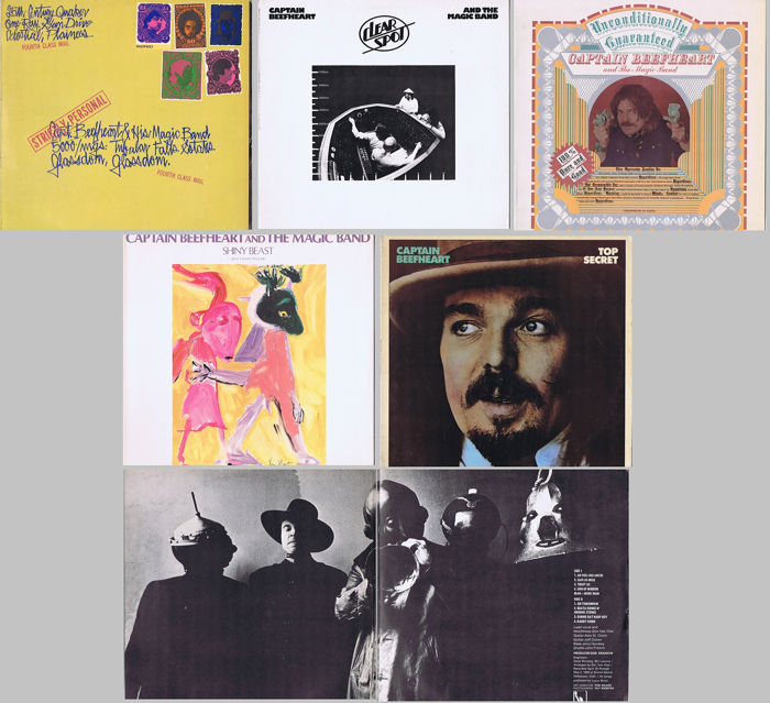 CAPTAIN BEEFHEART & HIS MAGIC BAND (lot of 5 original LPs) - 1  Strictly  Personal ('68) 2  Clear Spot ('72) 3  Unconditionally Guaranteed ('74) - 4