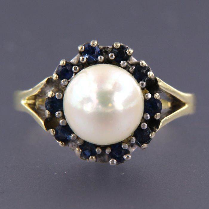 14 kt. Freshwater pearl, White gold, Yellow gold - Ring - 0.40 ct Sapphire