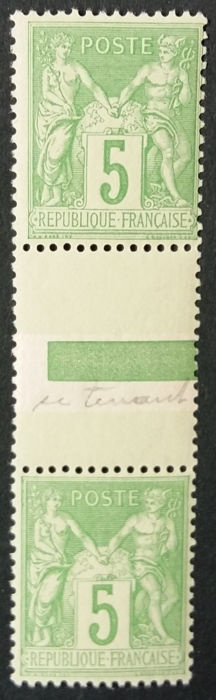France 1898 - Sage, 5 c. green-yellow, both se-tenant types - Yvert 106a