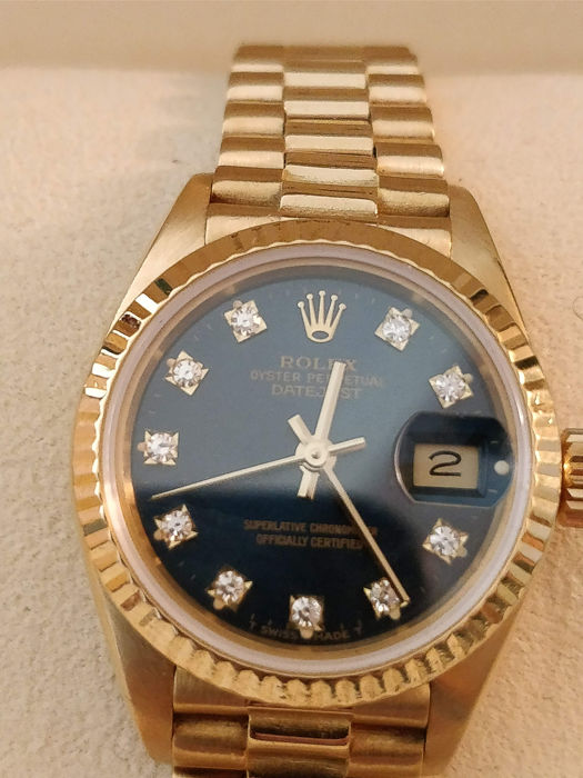 Rolex - 18kt Gold Perpetuel Datejust President-Diamonds - 69178 - Mujer - 1980-1989