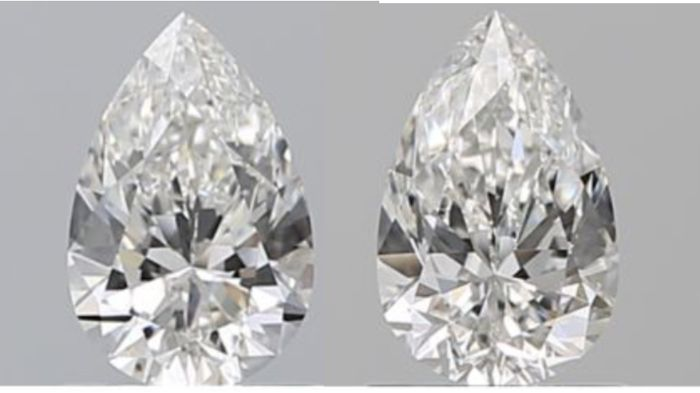 2 pcs Diamanten - 1.40 ct - Peer - F - VS2