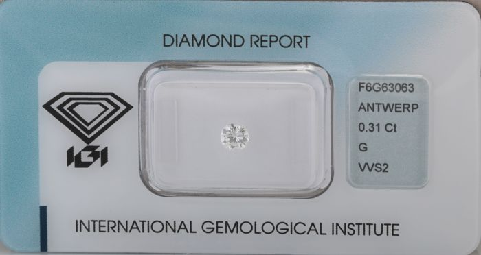 1 pcs Diamante - 0.31 ct - Brillante - G - VVS2