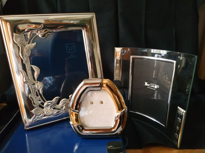 Photo frame (3) - Crystal, Gold plated, Silverplate - Italy - 1950-1999