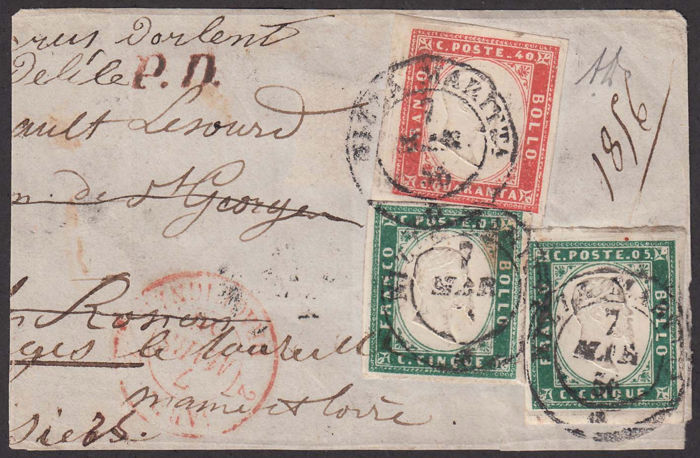 Sardinië 1856 - 5 cents dark emerald green two pieces, 40 cents vermilion, on fragment cancelled in Nice - Sassone NN. 13f, 16a