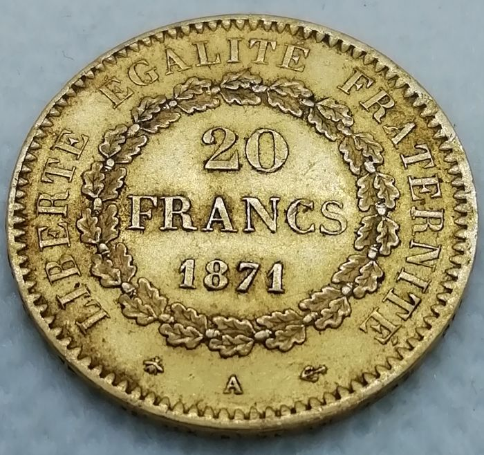 France - 20 Francs 1871-A Genius - Or