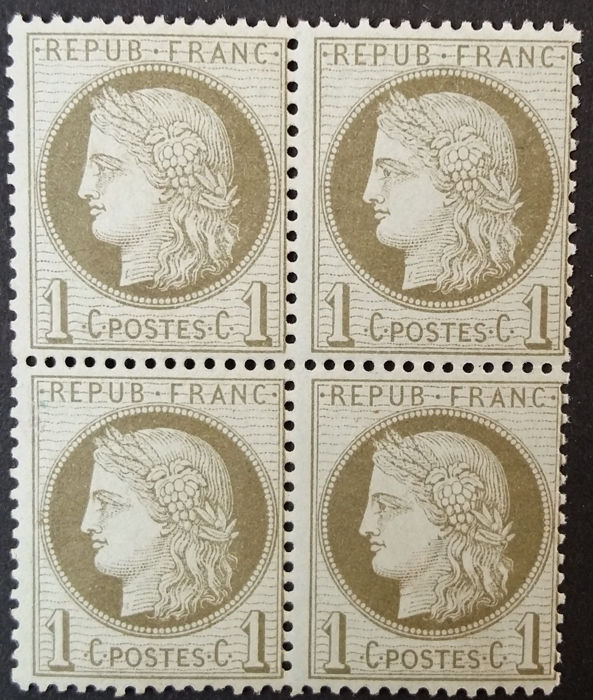 Frankrijk 1872 - Ceres, 1 c olive green, block of 4 - Yvert 50