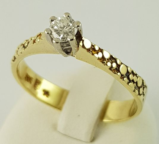 14 kt Gelbgold - Solitär-Diamant-Ring - 585er Gold - 1 Diamant - 0.20 ct Diamant