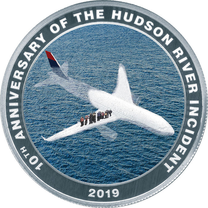 """Cook Islands. 1 Dollar - 2019 - """"MIRACLE ON THE HUDSON"""" - Sully - 10° Anniversario - Set 10 x 3 g"""