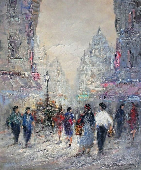 Peter Brouwer (1935 - 2010) - City Street Scene. Paris.