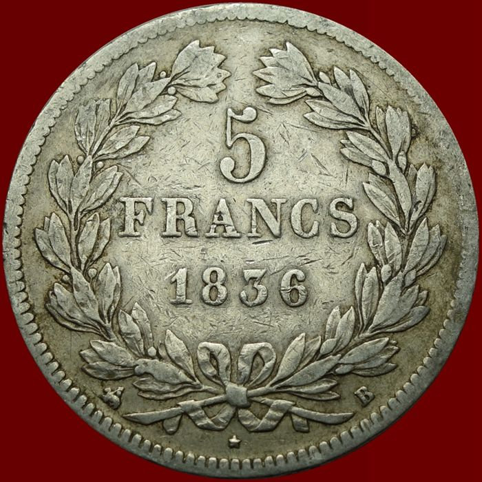 France - 5 Francs 1836-B Louis Phillippe I - Silver