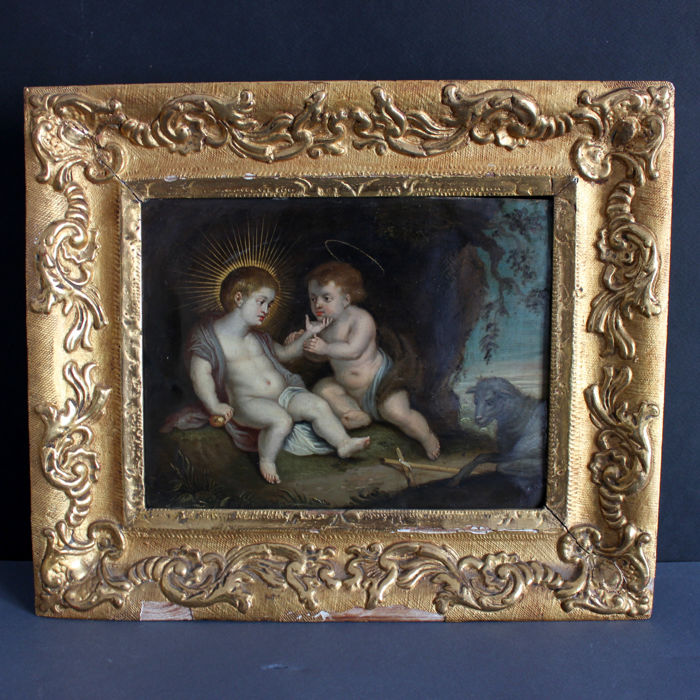 Painting - Oil on copper painting depicting San Giovannino with the Child Jesus. - First half 18th century