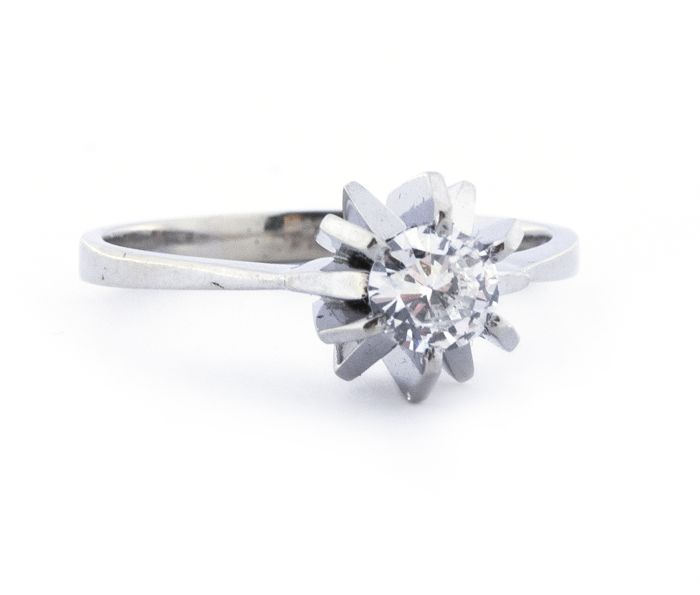 Luxury Solitaire Engagement  - 18 kt. White gold - Ring Diamond