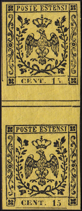 Modena 1852 - 15 cents yellow without dot after the figure, pair with vertical gutter margin - Sassone N. 3, varietà