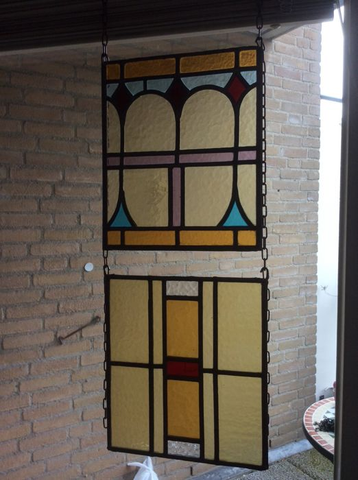 Geometrisch decor in Art Deco stijl  - Panels with mosaic pieces (2) - Glas-in-lood