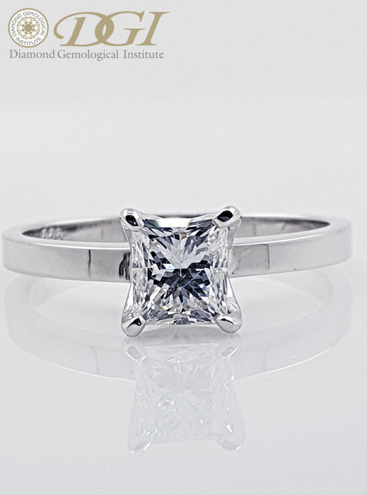 14 karaat Witgoud - Ring - Helderheid versterkt 1.02 ct Diamant - D / VS