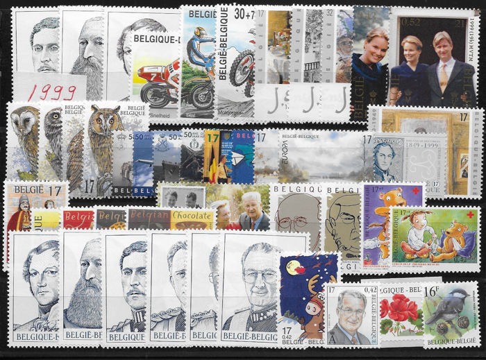 Belgium 1999 - Complete year of stamps, blocks and booklets - OBP / COB 2793/2877