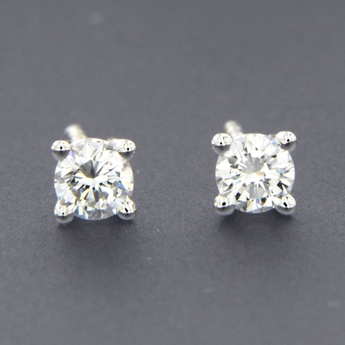 14 quilates Oro blanco - Pendientes - 0.40 ct Diamante