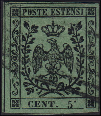 "Modena 1852 - 5 c. olive ""high dot after CENT"", 5 c. olive ""CNET. 5."" two typesetting varieties - Sassone N. 8b, 8f"