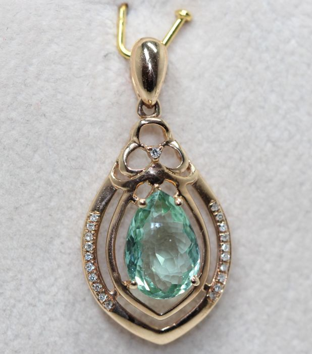 18 kt. Yellow gold - Pendant - 2.50 ct Paraiba apatite - Diamonds