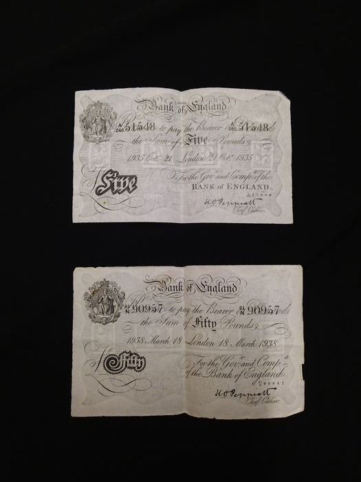 Great Britain - made in Germany - 5 and 50 pounds 1935/1938 - Forgeries - Operation Bernhard
