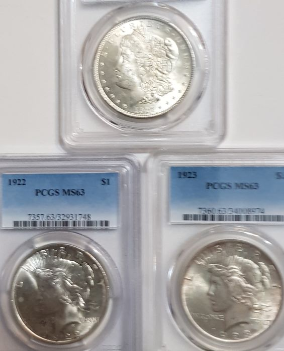USA - Dollars (Morgan) 1921 + Dollar 1922 and 1923 (Peace)  in PCGS Slabs  - Silver
