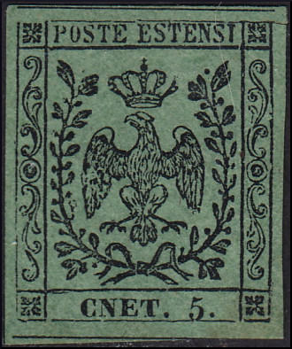 Modena 1852 - 5 cents olive green with dot after the figure, plate error CNET. 5. - Sassone N. 8f