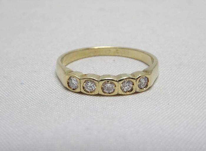 18 carats Or - Bague - 0.25 ct Diamant