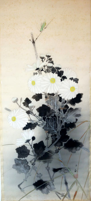 Ink painting - painting - Ink, Watercolour - Flowers, Grasshopper - China - Second half 20th century