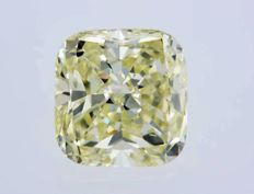 1 pcs Diamante - 0.91 ct - Almofada - fancy yellow - VVS2