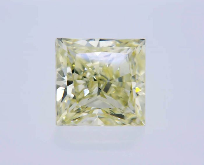 1 pcs Diamant - 0.91 ct - Princesse - fancy yellow - VS2