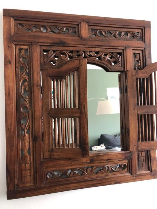 Mirror in hand-carved wooden frame with bar doors - Mirror ...