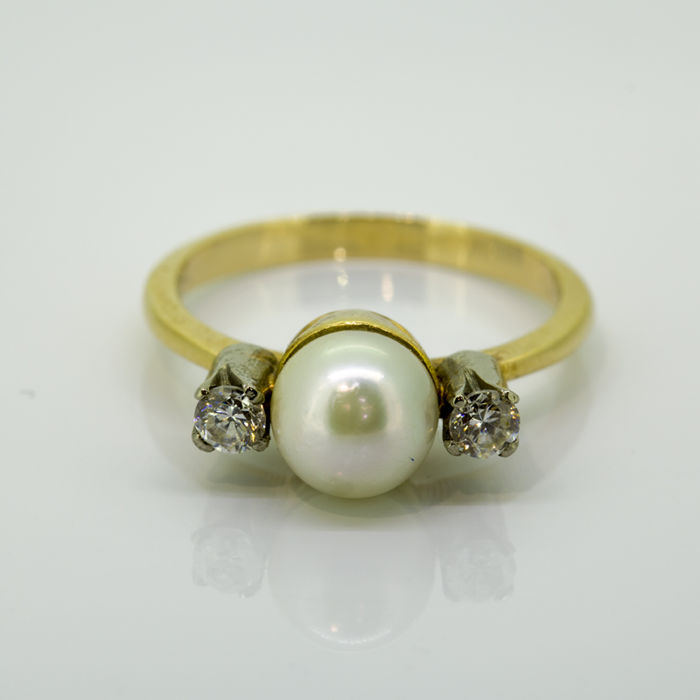 18 quilates Oro amarillo - Anillo - 0.10 ct Diamante - Perla