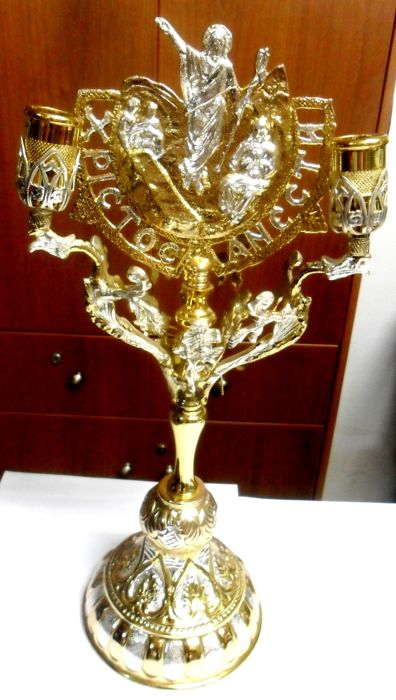 Easter Byzantin Candlestick - Bronze gold silver plated - Israel - Early 20th century