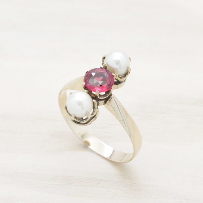 12 quilates Oro rosa - Anillo Ruby paste - Perlas